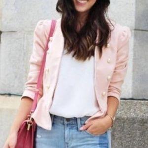 Zara Sz XS Velvet Pearl Peplum Jacket Pink/Blush